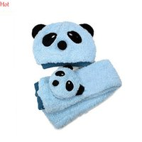Cheap Hats & Scarves Set Cartoon Hat Scarf Set Best Blue Plain Dyed Winter scarf baby