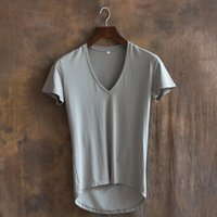 bamboo code - Summer wear quality leisure fashion big v neck pure color code irregular cultivate one s morality men s short sleeve T shirt