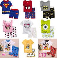pajamas for children - Kids Boys Minions Pajamas Set Spiderman Batman Children Character Summer Pyjamas Clothing Set for Baby Boys Cars Suits Teenage Mutant Ninja