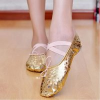 Wholesale 2015 New Arrival Women Girl Gold Silver Ballet Pointe Gymnastics Sequins Leather Adults Children Soft Dance Shoes Size