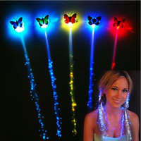 Wholesale Colorful Flash LED Braids Hair Extension Decorations Girl Butterfly Hair Glow by Fiber Optical Novelty Night Lights for Party Holiday