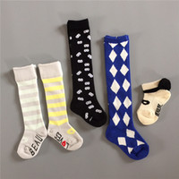 baby bump - European and American wind neutral boys and girls INS big name sapphire blue diamond baby bump color cotton socks knee high kids socks