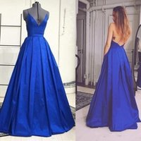 Wholesale Sexy Long Prom Dresses Royal Blue Spaghetti Straps Ruffles Back Lace Up Vestido de fiesta A Line Prom Party Dresses Special Occasion Dresses