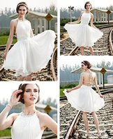 beaded halter neck wedding dresses - 2016 Beaded Halter Neck wedding dresses cheap criss cross straps back Chiffon Bridal Gowns Knee Length Wedding Gown High Quality
