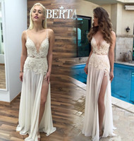 Cheap Boho 2016 Berta Long Beach Wedding Dresses With Sexy Spaghetti Straps Deep V-Neck Lace A-line High Split Chiffon Floor-length Bridal Gowns