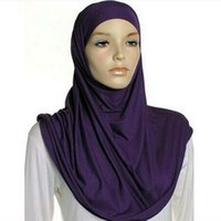big head scarf - Women Jersey Hijabs Shawl Plain Color Big Size Muslim Head Wrap Elastic Scarf Soft Cotton Polyester Scarf Ladies Solid Scarves FS009