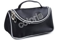 Wholesale New Professional Brand Travel Cosmetic Bags Double Zipper Black Makeup Bags Smile Handbag With Mirror
