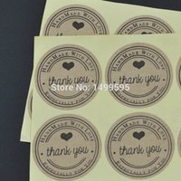 Wholesale Factory Outlet hand made thank you sticker etiquetas brown kraft label for cookie biscuit cake gift packaging seal bags