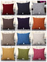 Wholesale Plain colors simple linen cushion cover Home Decor Pillow Case throw pillowcase Cushion Cover quot quot for sofa bed car office decor