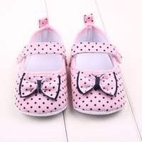 Wholesale Spotted Baby Shoes - Fashion Baby Casual Shoes for Girls Princess Bow Spots First Walker Summer Shoes Classic Infant Toddler Non-Slip Shoes S1012