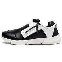 b fit - KUAYANG New Designed Men Casual Shoes Zip Slip on Low Top Lightweight Leather Shoes Perfit Fitting