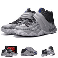 Wholesale With shoes Box Hot Sale Kyrie Irving II Wolf Grey Black White Men New Model Hot Sale Shoes