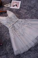 Wholesale Gorgeous Short Cocktail Party Dresses V Neck Lace Appliques Draped Tulle Knee Length Mini Women Prom Dresses