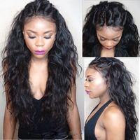 achat en gros de black woman hair-8A humide brésilienne et Wavy Full Lace Human Perruques Pour les femmes noires sans colle Eau Vague Lace Front Wigs avec bébé cheveux