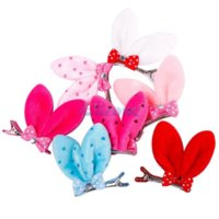 Wholesale 10Pcs New Girls Cute Bunny Ears Dot on Bowkon Hair Clip Barrette Clips For Headpiece Hairpin Styling Tools iPa