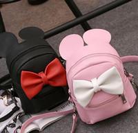 Wholesale designer backpacks Girls Backpack New Korean Cute Cartoon Mickey Design Backpack Fashion Bow Girls Bags with Ear truelovewangwu