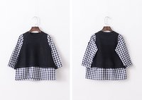 Wholesale Hu sunshine new Girls Joining together grid sweater SP3009