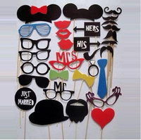 Wholesale Funny Photo booth props with lips moustaches glasses and sticks party wedding Decorations Prop