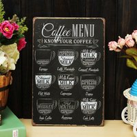 Wholesale Coffee Menu Vintage Tin Sign Bar Pub Shop Home Wall Decor Retro Metal Art Poster