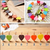 Wholesale HOT Lovely Small Red Wooden Clip Heart Shape Wedding Clip Cartoon Bag clips
