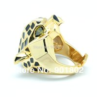 Wholesale Men Women Leopard Panther Rings with Copper Gold Plated Green Eyes Zirconia Rhinestone Animal Brand Jewelry