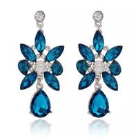 big long earrings - Hot Crystal Dangle Earrings Fashion Women Flower Drop Earrings European Statement Earrings Party Jewelry Big Long Earrings boucle d oreille