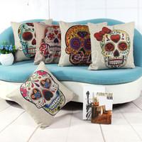 Cheap Wholesale-Skull Vintage Retro Cotton Linen Throw Pillow Case Bed Home