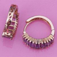 large hoop earrings - Gracious Purple Amethyst Silver amp k Gold Plated Hoop Earrings E344 silver hoop earrings large