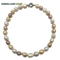 baroque necklace choker - special good sheen semi baroque irregular pearl necklace Mixed color white pink purple stely real freshwater pearls fine Jewelry for women