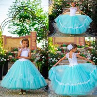 Golden Globe Awards beautiful turquoise - Turquoise And White Beautiful Flower Girls Dresses Jewel With Applique Tiered Pleats Cupcake Girl Dresses Back Lace up Custom Made Kid Dress