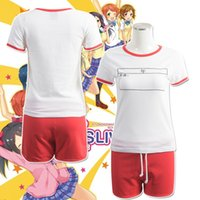 Cheap Anime costumes sports wearing set Love Live Sonoda Umi Rin Hoshizora cosplay T-shirt and shorts Kawaii Love Live cos white pink shirts