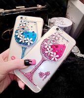 app case - Luxurious diamond D red wine glasses case App Apple i6 s plus mobile phone silica gel set liquid diamond female shell