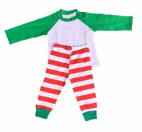 Wholesale Fall Kids Christmas Pajamas sets white and green raglan stripe cotton pants boutique baby sleepwear suits