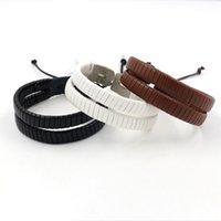 achat en gros de bracelet cuir f-Punk Bracelets en cuir coréens sauvages femelles bracelet doux Multilayer rétro main tissés à main Bracelet Hommes Bracelets chaîne Bijoux f