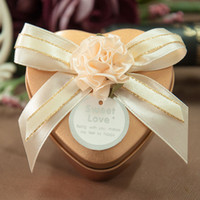 heart shaped tin box - 30pcs Gold Metal Tin Heart Candy Boxes Flower Ribbon Wedding Favor Party Chocolate Box Unique and Beautiful Design