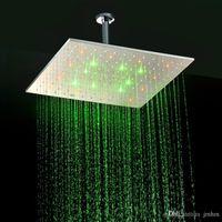 Cheap Luxury Overheads LED Rain Shower Heads 16 Inch Rainfall LED Shower Heads 304 Stainless Steel LED Rain Shower Heads 160305#