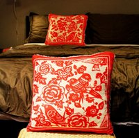 Wholesale Original wedding gifts creative Chinese paper cut red square pillow or cushion for leaning on pillows