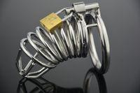 Wholesale 2016 Hot Selling Male Chastity Cage Urethral Catheter Stainless Steel Chastity Belt Bondage Fetish SM Sex Toys Art Cage Device