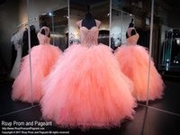 Wholesale Sequin Ruched Rhinestone Prom Dress - 2016 Sparkly Champagne Coral Sweetheart Quinceanera Dresses Ball Gown Prom Celebrity Ruffled Tiered Skirts Rhinestone Sweet 16 Party Gowns
