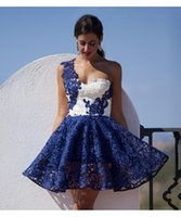 Wholesale Short Blue Prom Dresses Sexy One Shoulder Zipper Up White Lace Mini Party Dress Women Pageant Gowns Vestidos De Festa Curto