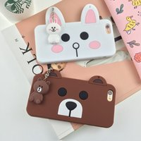 bear lanyard - 3D Brown Bear and Conie Rabbit Phone Cover Soft Silicone Case With Lanyards For Iphone s Plus s SE OPPBAG