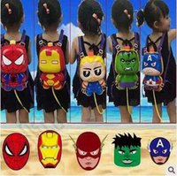 Wholesale 5 Designs Children Toys Summer Cartoon Avengers Backpack Tank High Pressure Pull Type Beach Swimming Toy Gun Water Toys LJJC5185