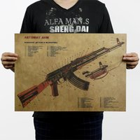 Wholesale AK47 Weapon Gun Improved Chart Vintage Kraft Paper Movie Poster Home Decor Wall Decals Art Craft Retro Painting