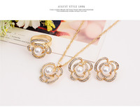 beautiful dinner sets - Han edition beautiful flowers pearl set fashion creative chain necklace three sumptuous dinner wedding accesso