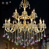Wholesale Simple restaurant zinc alloy lighting luxurious atmosphere living room dining room luxury hotel villa duplex European style crystal