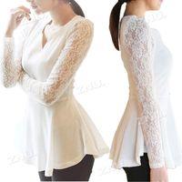 korea fashion blouse - Womens New Korea Flared Peplum Sexy Shirts Lace Long Sleeve Chiffon Blouse Tops