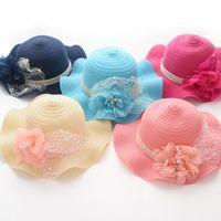 baby sun rose - 2016 NEW ARRIVAL baby girl kids Korean lace tulle Chiffon flower hat all rose flower around girl children sun hat Straw Hat Beach Hats