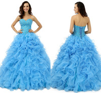 2016 Véritable image Meilleur Arrivée Sweethart Ball Gown Beaded Tulle Quinceanera Robes Pagent Elegant Birthday Girl Prom Party Robes