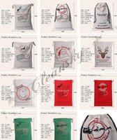 Wholesale Fedex DHL Free style Large Canvas Monogrammable Santa Claus Drawstring Bag With Reindeers Monogramable Christmas Gifts Sack Bags Z73 L