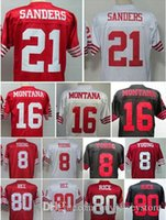 Wholesale Authentic Steve Young Joe Montana Deion Sanders Jersey Jerry Rice White Red Black throwback Football Jerseys